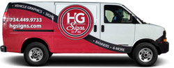 Even with a partial wrap, the HG Signs van stands out on any street, in any town