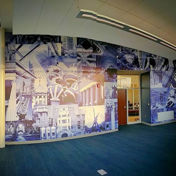 Vinyl wall mural installed at University of Michigan Credit Union State Street branch